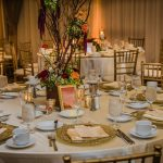 Gold and White Wedding Reception Table Set Up at Rosen Centre