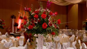 Wedding Reception Flower Center Piece with Red Roses