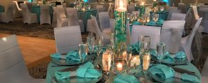 Blue and silver table setup