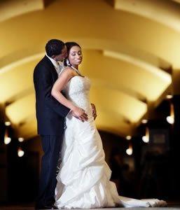 Newlyweds in hallway