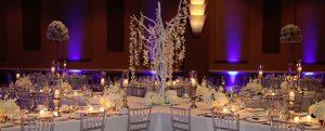 White and purple table setup